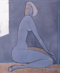 Living room painting by Joanna Sarapata titled Silver Nude