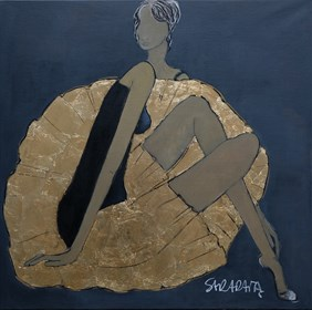 Living room painting by Joanna Sarapata titled Woman in golden dress