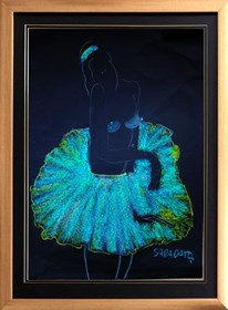 Living room painting by Joanna Sarapata titled blue ballerina