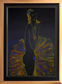 Living room painting by Joanna Sarapata titled Yellow&blue ballerina