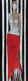 Living room painting by Joanna Sarapata titled Act in red skirt