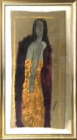 Living room painting by Joanna Sarapata titled Women in gold dress