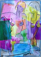 Living room painting by Joanna Sarapata titled Act - collage I