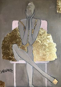 Living room painting by Joanna Sarapata titled Ballet dancer