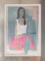 Living room painting by Joanna Sarapata titled Pink skirt