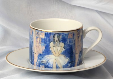 "Living room Other by Joanna Sarapata titled Tea cup - ""Le monde"" Women In Chaos"