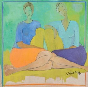 Living room painting by Joanna Sarapata titled Chat