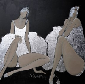 Living room painting by Joanna Sarapata titled Silver