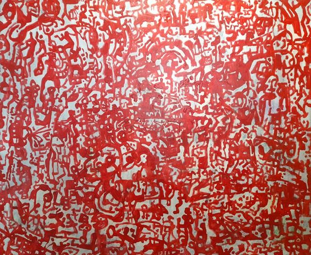 Living room painting by Stanisław Młodożeniec titled Hip Hop Red