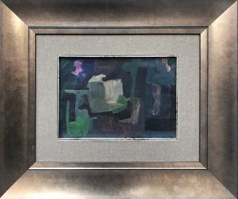 Living room painting by Stanisław Młodożeniec titled Dark interior