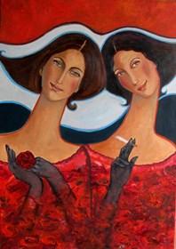 Obraz do salonu artysty Krystyna Ruminkiewicz pod tytułem Takie dwie w czerwieni