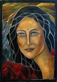Obraz do salonu artysty Krystyna Ruminkiewicz pod tytułem Taka jedna witrażowa
