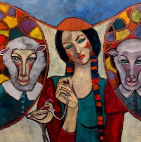 Obraz do salonu artysty Krystyna Ruminkiewicz pod tytułem Taka jedna ze swoją świtą.