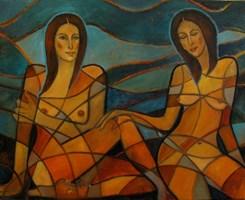 Obraz do salonu artysty Krystyna Ruminkiewicz pod tytułem Takie dwie na wakacjach