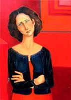 Obraz do salonu artysty Krystyna Ruminkiewicz pod tytułem Smutek i radość ma kolor czerwony