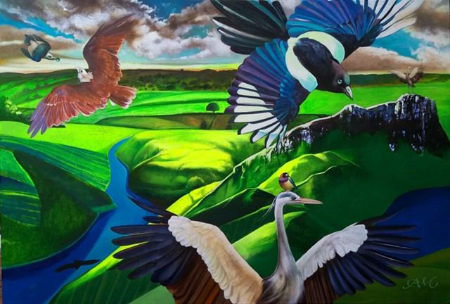 Living room painting by Anna Malinowska titled Gaia