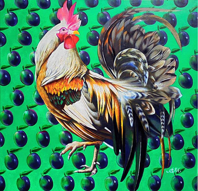 Living room painting by Anna Malinowska titled Rooster
