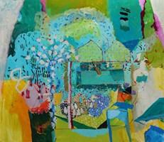 Living room painting by Nina Rostkowska titled Magnolia tree