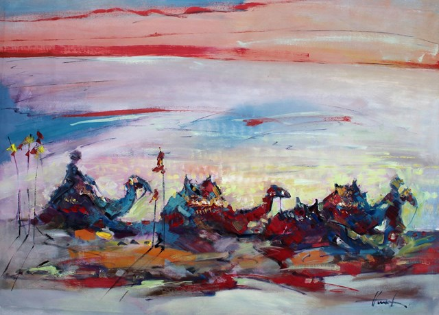 Obraz do salonu artysty Henadzy Havartsou pod tytułem O zachodzie słońca