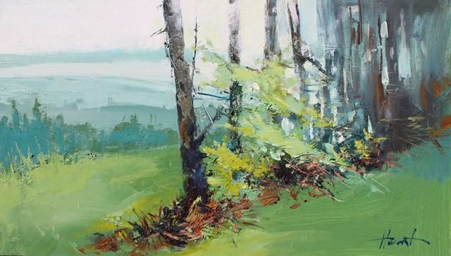 Living room painting by Henadzy Havartsou titled  Carpathian landscape