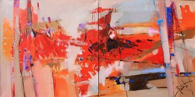 Obraz do salonu artysty Henadzy Havartsou pod tytułem Safari (dyptyk)