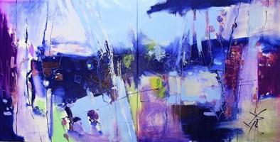 Obraz do salonu artysty Henadzy Havartsou pod tytułem Blue lagoon (dyptyk)