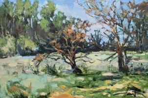 Obraz do salonu artysty Henadzy Havartsou pod tytułem Dzikie jabłonie