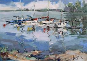 Obraz do salonu artysty Henadzy Havartsou pod tytułem Jachty na jeziorze