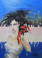 Obraz do salonu artysty Henadzy Havartsou pod tytułem Czerwona wstążka