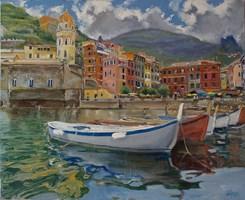 Obraz do salonu artysty Dariusz Żejmo pod tytułem Vernazza. Panorama