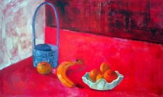 Living room painting by Kamila Guzal-Pośrednik titled Still life: in red