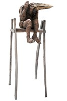 Living room sculpture by Marcin Myśliwiec titled The flightless in high chair