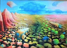 Obraz do salonu artysty Zbigniew Olszewski pod tytułem Polowanie na flamingi