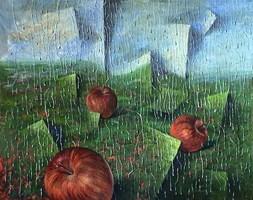 Obraz do salonu artysty Maria Kucia-Albin pod tytułem Deszczowa rozmowa
