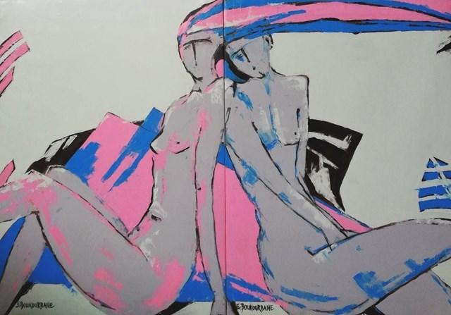 Obraz do salonu artysty Elżbieta Boukourbane pod tytułem OBECNOŚĆ dyptyk