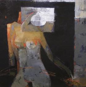Living room painting by Elżbieta Boukourbane titled Trans I