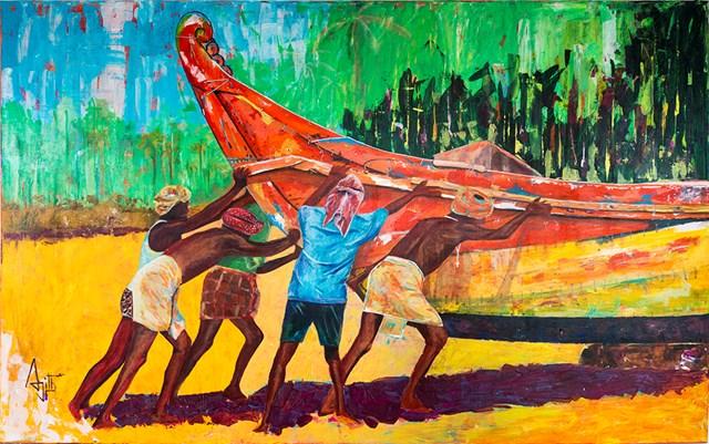Obraz do salonu artysty Ajith Krishnamoorthy Nair pod tytułem Fisher Men