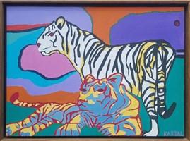 Obraz do salonu artysty Celalettin Kartal pod tytułem Tiger Family