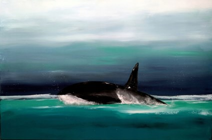 Living room painting by Andrzej Cybura titled killer whale
