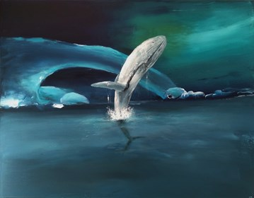 Living room painting by Andrzej Cybura titled Whales