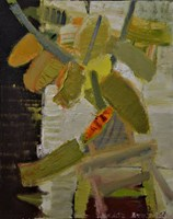 Obraz do salonu artysty Łukasz Breitenbach pod tytułem Fikus z pomarańczowym liściem