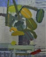 Obraz do salonu artysty Łukasz Breitenbach pod tytułem Fikus z opadającym czerwonym liściem