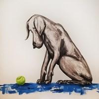 Grafika do salonu artysty Aleksandra Lacheta pod tytułem Pies z piłką