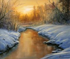 Obraz do salonu artysty Lidia Olbrycht pod tytułem Zimowy Zachód Słońca