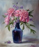 Obraz do salonu artysty Lidia Olbrycht pod tytułem Piwonie i Dzwonki