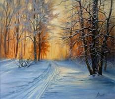 Obraz do salonu artysty Lidia Olbrycht pod tytułem Zima, Las, Zachód Słońca