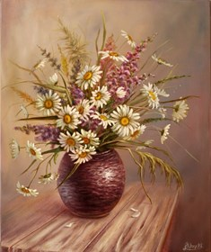 Living room painting by Lidia Olbrycht titled Oxeye daisy