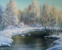 Obraz do salonu artysty Lidia Olbrycht pod tytułem Krajobraz Zimowy